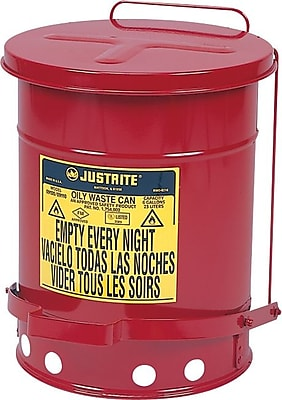 SoundGuard™ Flame Retardant Wear Resistant Non Combustible Red Oily Waste Can, 14 Gallon