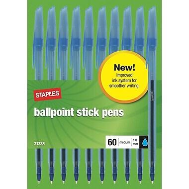 Staples Ballpoint Stick Pens, Medium Point, Blue, 60/Pack (21338)