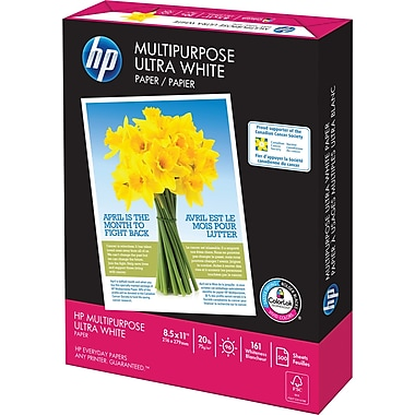 HP® FSC-Certified Multipurpose Paper, 20 lb., 8 1/2