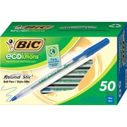 BIC Round Stic ECOlutions Ballpoint Pens, Medium Point (1.0mm), Blue, 50/Pk (GSME509BLU)