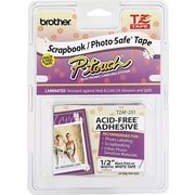 "Brother® P-Touch TZe Machine Tape Cartridges, 1/2"", Black Lettering on White Label Tape, Acid Free"