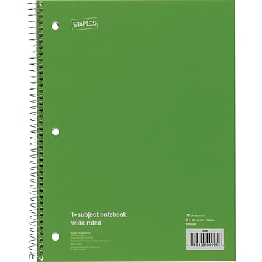 Staples® 1 Subject Notebook, Wide Ruled, 8