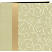 "Pioneer Scroll Embroidery Fabric Postbound Album With Ribbon, Ivory, 12"" X 12"""