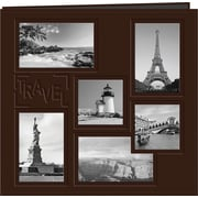 "Poineer Collage Frame Sewn Embossed Cover Postbound Album, 12""X12"",  Brown/Travel"