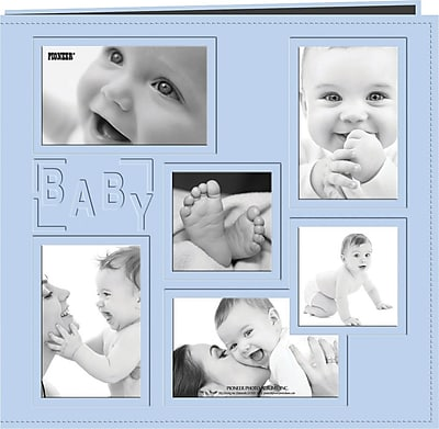 Pioneer Collage Frame Sewn Embossed Cover Postbound Album, Blue/Baby, 12