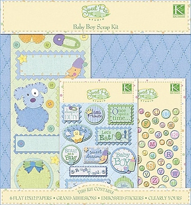 K&Company® Sweet Pea Scrapbook Kit, Baby Boy, 12