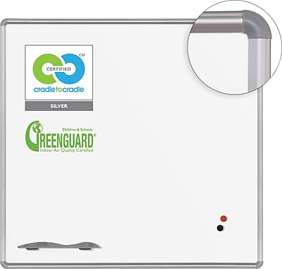 Best-Rite Green-Rite Porcelain Dry-Erase Board, Silver Presidental Trim, 4' x 4'