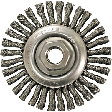 ANDERSON® 4 in (OD) 3/16 in (W) Face STCM Series Stringer Bead Knot Wheel Brush, 0.02 in Wire, CS