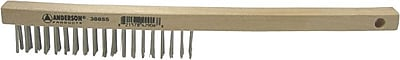 ANDERSON® Curved Wood Handle SS Bristle Hand Scratch Brush, 1 1/8 in (L) Trim
