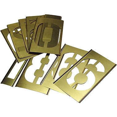 C.H. Hanson® 15 pcs Brass Single Number Stencil Set, 2 in