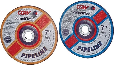 CGW® 7 in (OD) x 1/8 in (T) 27 Depressed Center Flat AO Cut-Off Wheel, 24 (Coarse), 5/8-11 Arbor, T