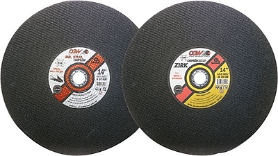 CGW® 14 in (OD) x 3/32 in (T) 1 Straight ZA Cut-Off Wheel, 24 (Coarse), 1 in Arbor