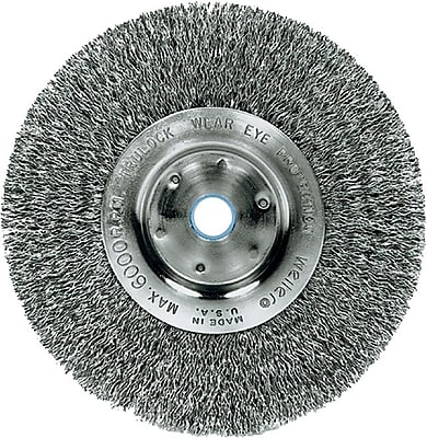 Trulock 8 in (OD) 3/4 in (W) Face Narrow-Face Crimped Wire Wheel Brush, 0.014 in Wire, Steel 707925