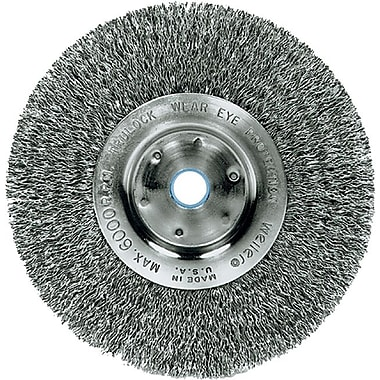 Trulock™ 6 in (OD) 3/4 in (W) Face Narrow-Face Crimped Wire Wheel Brush, 0.0118 in Wire, SS