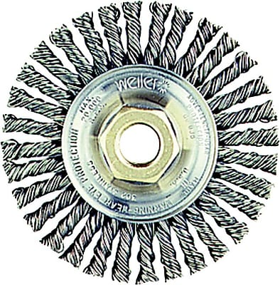 Roughneck™ 4 in (OD), 3/16 in (W) Face Stringer Bead Twist Wheel Brush, 0.02 in Wire, Steel