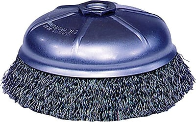 Weiler® 0.014 in (Dia) x 7/8 in (L) SS Wire CRA-3 Crimped Cup Brush, 5/8-11, 3 1/2 in (Dia)