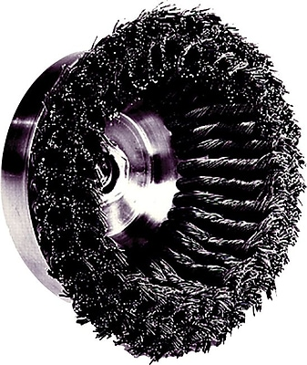 Weiler® 0.014 in (Dia) x 1 1/4 in (L) CS Wire DR-4 Knot Cup Brush, 5/8-11, 4 in (Dia)