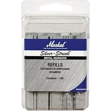 Silver-Streak® Fineline Metal Marker Refill, Silver, Flat Shape, 100/Clam Shell