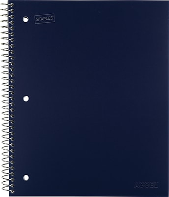 Staples Accel Durable Poly Cover Notebook, College Ruled, Blue, 8-1/2