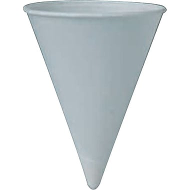 Solo® Straight Edge Rolled Rim Treated Paper Cone Water Cup, White, 7 oz