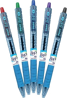 Pilot B2P Bottle-2-Pen Retractable Ball Point Pens, Medium Point, Assorted, 5/Pack (32814)