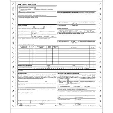 Complyright Ada Dental Claim Form, 1-Part Continuous, 1000/Pack