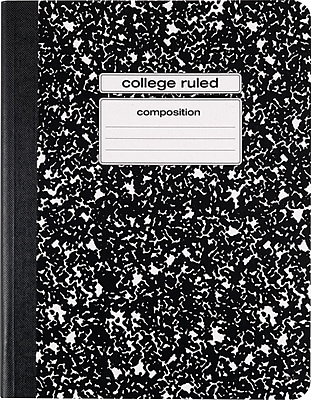 Staples Composition Notebook, College Ruled, Black, 9-3/4