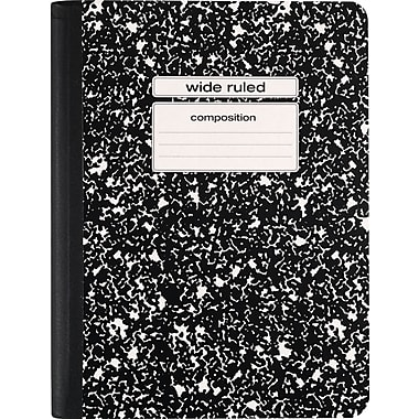 Staples® Composition Notebook, Wide Ruled, Black, 9-3/4