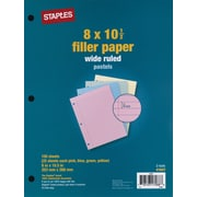 "Staples Pastel Filler Paper, 8"" x 10-1/2"", 100 Sheets/Pack (41637)"