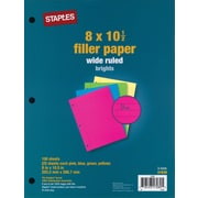 "Staples Bright Filler Paper, 8"" x 10-1/2"", 100 Sheets/Pack (41638)"