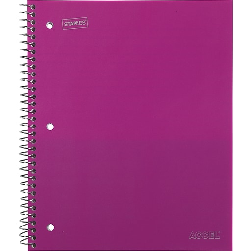 """Staples Accel Durable Poly Cover Notebook, College Ruled, Pink, 8-1/2"""" x 11"""", 12 pack"""