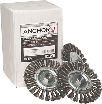 Anchor Brand® CS Full Twist Wheel Brush, 6 in (Dia), 0.023 in Wire, 5/8-11 Arbor