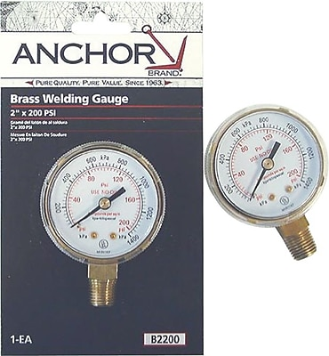 Anchor Brand® Brass Replacement Gauge, 200 psi, 2 1/2 in Dial, 1/4 in NPT