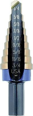 Unibit® Hex Shank Cobalt HSS #4 Self Starting Step Drill Bit, 3/16 - 7/8 in By 1/16 in