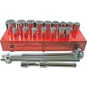 Pony® Chrome Plated Vanadium Steel Standard Socket Set, 3/4 in Square Drive, 21 pcs