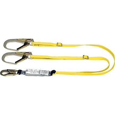 Workman® Yellow 2 Legs Shock-Absorbing Tie-Back Lanyard, 1LC
