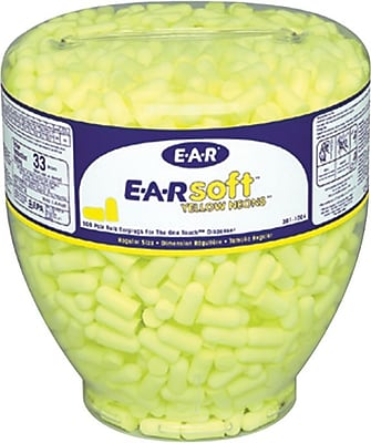 EARsoft® Neons™ Yellow Foam Uncorded Tapered Dispenser, 33 dB, 500/Box