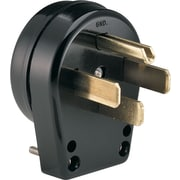 Cooper Wiring Devices Black Thermoplastic Body Male Angle Grounding Plug, 125 - 250 V, 30 - 50 A
