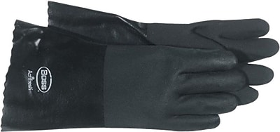 Boss® Jersey Lined Black PVC Coated Gloves, Gauntlet Style, Large
