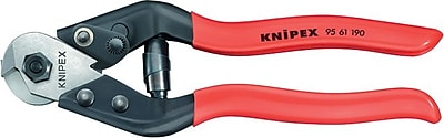 Knipex® Chrome Vanadium Steel Jaw Wire Rope Cutter, 6 mm Wire Rope, 190 mm (OAL)