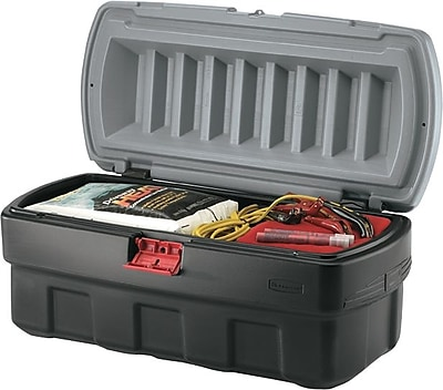 ActionPacker Black Storage Box with Gray Lid, 24 gal, 26 1/2 in (L) x 19.3 in (W) x 17.4 in (H) 786955