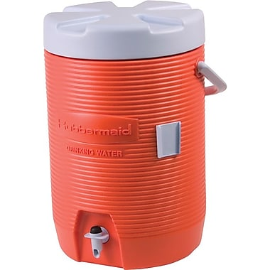 Rubbermaid® Orange Plastic Water Cooler, 16.65 in x 12.53 in x 11 in, 3 gal