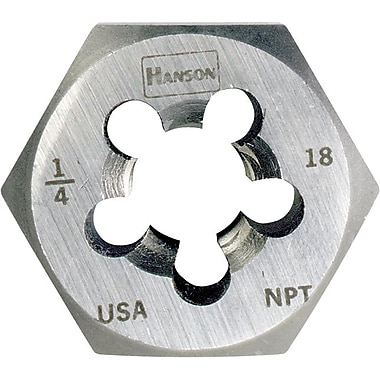 HANSON® High Carbon Steel Hexagon Re-Threading Taper Pipe Die, 3/4-14 NPT, 5 Flutes