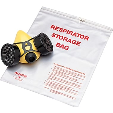 Allegro® Poly Large Reusable Zipper Respirator Storage Bag, 14 in (L), 16 in (W), 10 mil (T)
