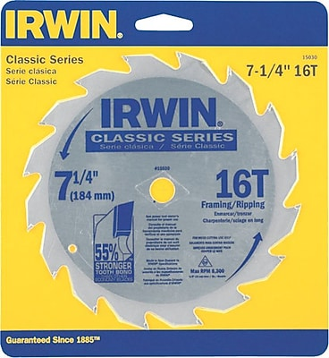 Irwin® Carbide Cutting Edge Classic Corded Circular Saw Blade, 7 1/4 in (Dia), 5/8 in Arbor, 40 TPI