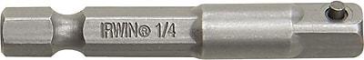 Irwin® Hex Shank Socket Adapter, 2 in (OAL), 1/4 in Square Drive