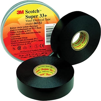Scotch® Super Vinyl Electrical Tape, Black, 7 mil