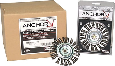 Anchor Brand® SS Knot Wheel Brush, 4 in (Dia), 0.014 in Wire, 5/8-11 Arbor