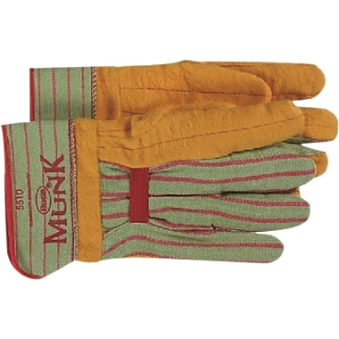 Munk® Rayon Lined Cotton Clute-Straight Thumb Chore Gloves, Large, Green/Tan, 12 Pairs