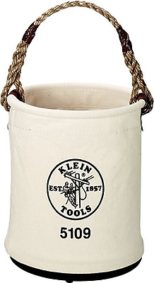 Klein Tools® Canvas Wide Opening Straight Wall Bucket Round Tool Bag, 1 Compartment, 15 in (H)